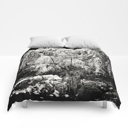 Willow Tree at River Bank Film Noir Style Comforters