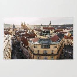 Prague Cityscape at sunset Rug