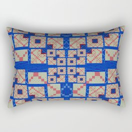 Retro Futuristic Modern Blue and Red Patchwork Geometry Rectangular Pillow