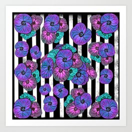 Florals over black and white stripes Art Print