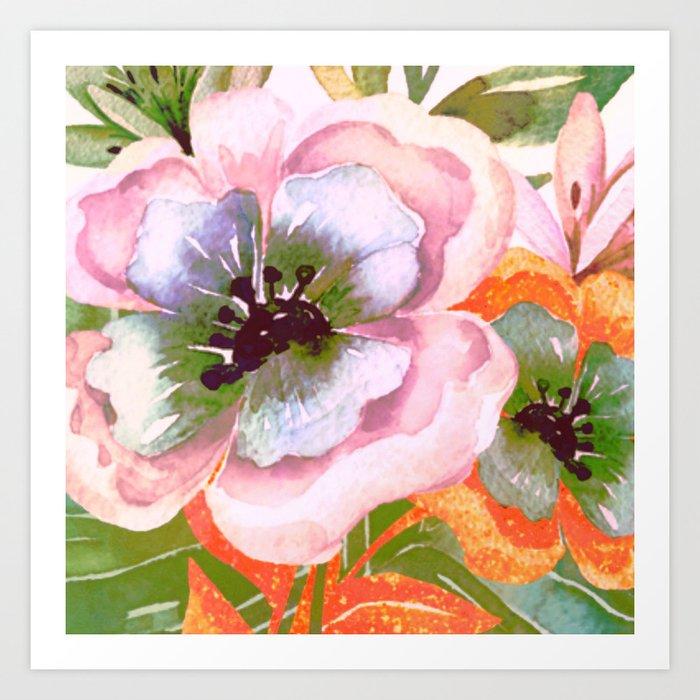 vintage big flower Art Print