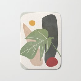 Abstract Monstera Leaf Bath Mat