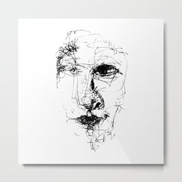 Doodle Face 2 by Kathy Morton Stanion Metal Print