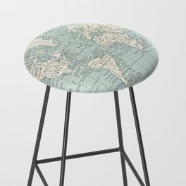 World Map in Blue and Cream Bar Stool