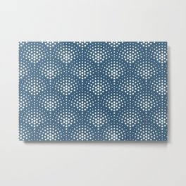 Off White Polka Dot Scallop Pattern on Blue Pairs To 2020 Color of the Year Chinese Porcelain Metal Print