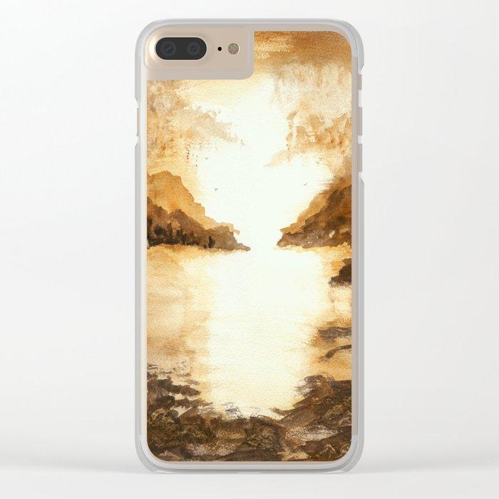 Golden Morn, Watercolor Beach Art Clear iPhone Case