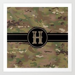 Camouflage Monogram: Letter H Art Print