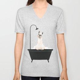 Llama in Bathtub Unisex V-Neck