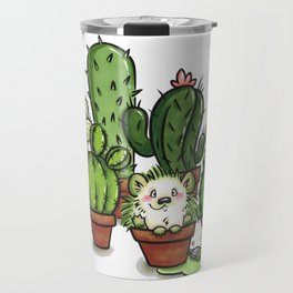 Green - Cactus and Hedgehog Travel Mug