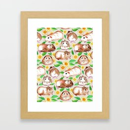 Guinea Pigs and Daisies in Watercolor Framed Art Print