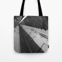 subway Tote Bags featuring Subway by Laura Gomez
