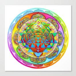 Inner Strength Psychedelic Tiger Sri Yantra Mandala Canvas Print