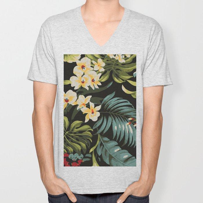 Hawaiian tropical floral palms pattern Unisex V-Neck