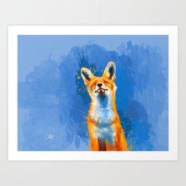 Happy Fox, inspirational animal art Art Print