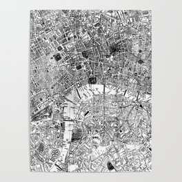 Vintage Map of London England (1860) BW Poster