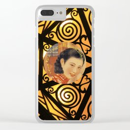 Woman in China - Beijing 7033 - Gold and black decor Clear iPhone Case