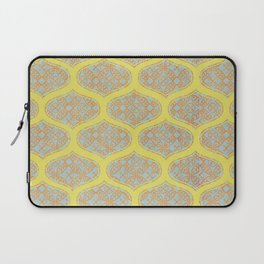Garden Charm IV:  Floral Geometric in Yellow and Blue Laptop Sleeve