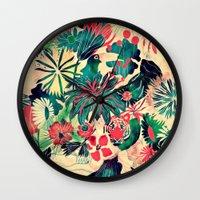 jungle Wall Clocks featuring Jungle by Demi Goutte