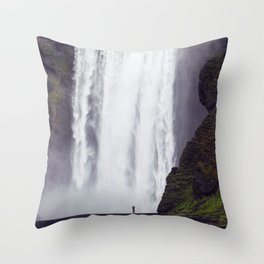Man Vs. Nature - Skógafoss, Iceland Throw Pillow
