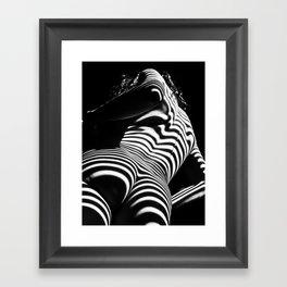 2070-AK Woman Nude Zebra Striped Light Curves around Back Butt Behind Naked Art Framed Art Print