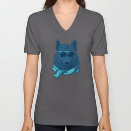 Cool wolf in suit with eyeglasses illustration Unisex V-Neck