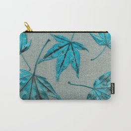 Japanese maple leaves - turquoise on silver gray paper Carry-All Pouch