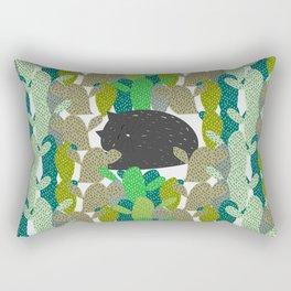 Sleepy cat in a cactus garden Rectangular Pillow