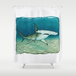 """""""Great Hammerhead Shark"""" by Amber Marine ~ Watercolor Painting, (Copyright 2016) Shower Curtain"""