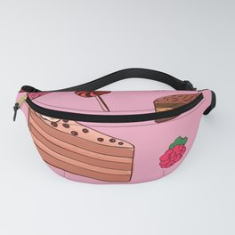Chocolate Cake, Candy, & Cupcakes Pattern On Party Pink Fanny Pack