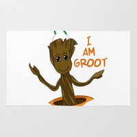 groot Area & Throw Rugs featuring I am Groot by Joynisha Sumpter