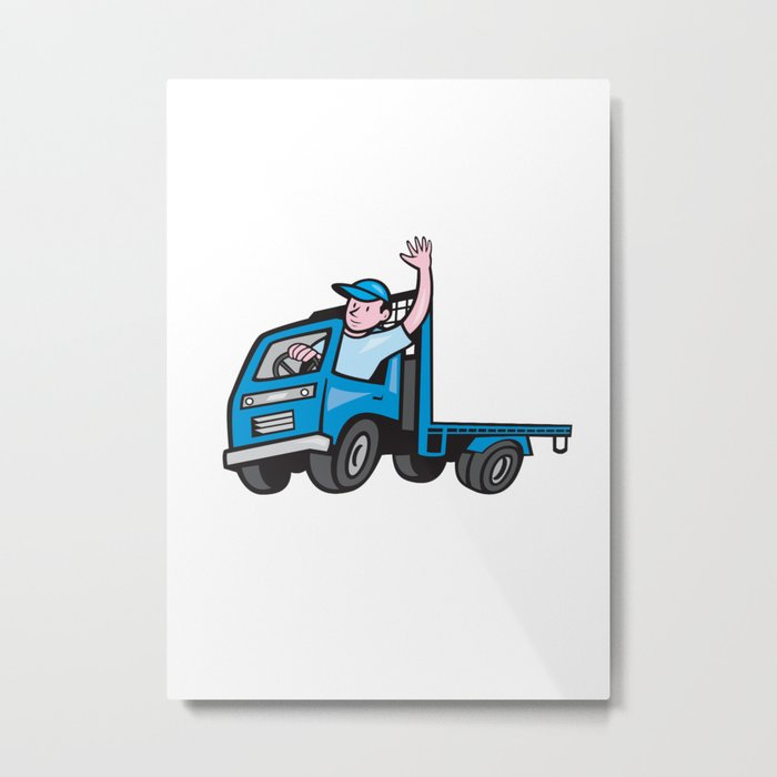 Flatbed Truck Driver Waving Cartoon Metal Print