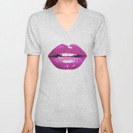 Purple Lips Unisex V-Neck