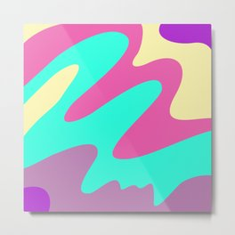 Abstraction. Cheerful multicolored waves. Metal Print