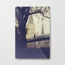 St Louis Cathedral through the trees Metal Print