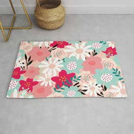 Floral Prints, Yellow, Pink and Turquoise, Cute, Colourful Prints Rug