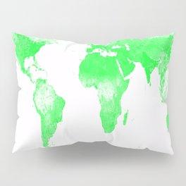 woRld Map Bright Green & White Pillow Sham