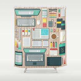 Graphic Designer's Workspace Shower Curtain