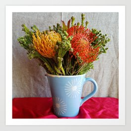 Flowers in a vase - with Pincushion Protea Art Print