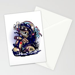 Smoke Skull Driver Moped - Navy Stationery Cards