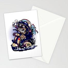 Smoke Skull Driver Moped - Navy Stationery Cards