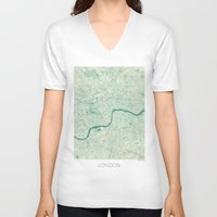 london map V-neck T-shirts featuring London Map Blue Vintage by City Art Posters