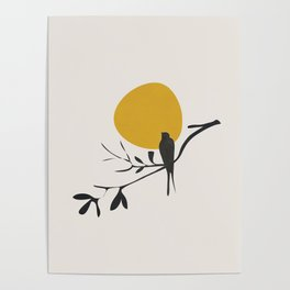 Bird and the Setting Sun Poster