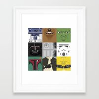 starwars Framed Art Prints featuring Starwars combo by Alex Patterson AKA frigopie76