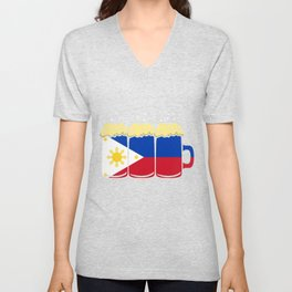 Philippines Flag Country Beer Brew Gift Unisex V-Neck