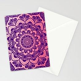 Rose Gold and Purple Circle Mandala Medallion Stationery Cards