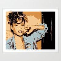rihanna Art Prints featuring Rihanna  by GOLDY