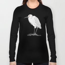 Grey Heron Minimalist Long Sleeve T-shirt