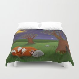 Fox And Bunny Dreaming The Night Away Duvet Cover