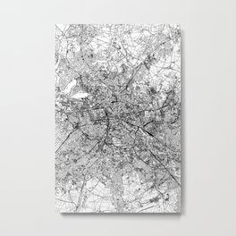 Berlin White Map Metal Print