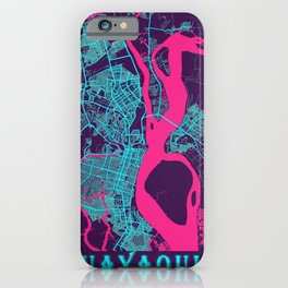 Guayaquil Neon City Map, Guayaquil Minimalist City Map Art Print iPhone Case